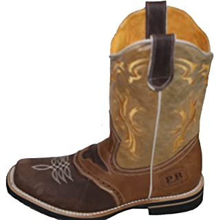 Children Youth Cowboy Genuine Leather Square Toe Rodeo Boys Western Boots