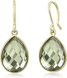 13.00 Ct Green Prasiolite 16x12mm Pear Shape Gold Plated Silver Dangle Earrings