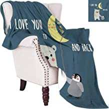 I Love You Luxury Special Grade Blanket Teddy Bear and Penguin Best Friends Arctic Lovers Under Moon Cartoon Multi-Purpose use for Sofas etc. W57 x L74 Inch Slate Blue Grey Yellow