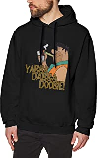The Flintstones Yabba Dabba Do Fred Men's Hooded Sweatshirt (Casual, Comfortable, Loose, Sporty) Pullover Hoodie Black