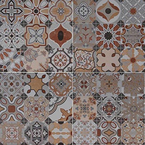 Casa Moro Marokkanische Keramikfliesen Patchwork Balat 45x45 cm 1 qm aus Feinsteinzeug frostsicher | orientalische Wandfliesen & Bodenfliesen für schöne Küche Badezimmer Flur | FL2110