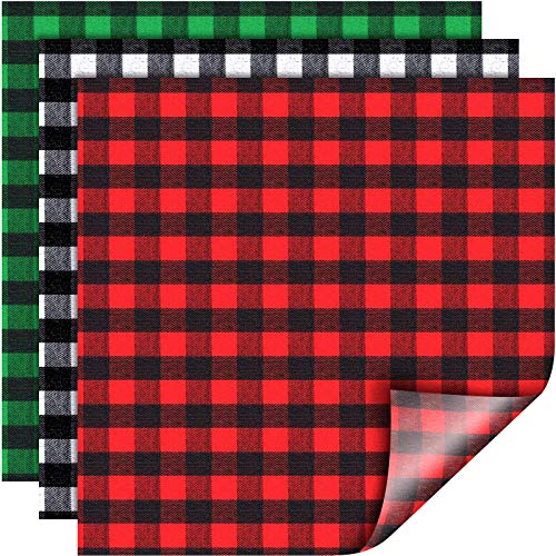 12 Sheets 12 x 12 Inch Christmas Buffalo Plaid Heat Transfer Vinyl Fabric Clothing Patches Vinyl Sheets Flannel Adhesive Iron on Vinyl for Clothes (Red and Black, Black and White, Green and Black)