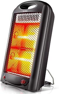 Radiador eléctrico MAHZONG Calentador de Ventilador Vertical, Termostato Ajustable, 600 W, Negro
