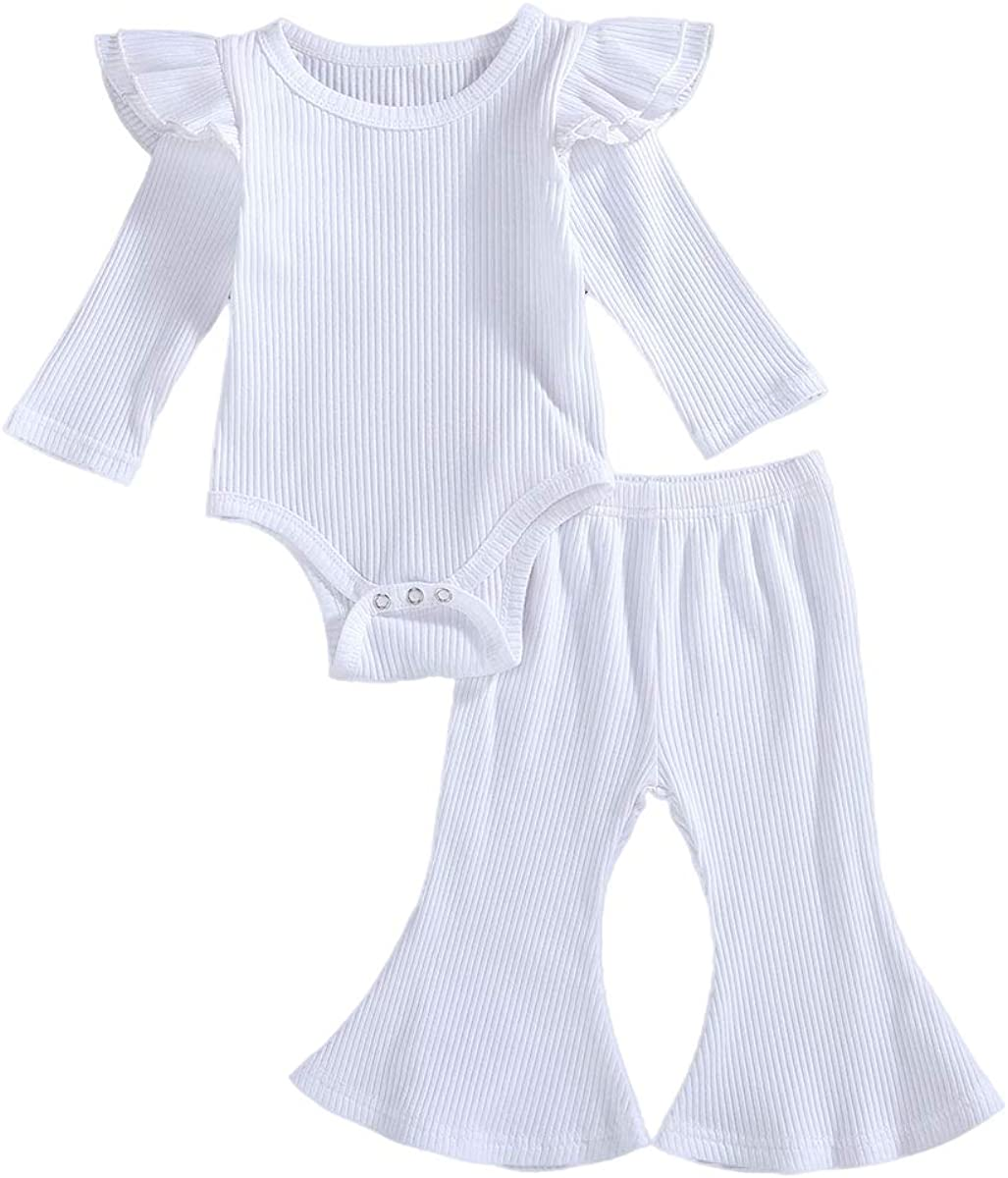 2Pcs Infant Baby Girl Fall Outfit,Long Sleeve Ruffle Romper + Bell Bottoms Kids Pants Cotton Clothes Set