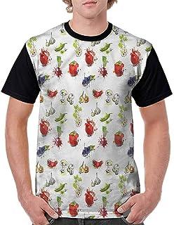 BlountDecor Unisex T-Shirt,Seasonal Fruits and Leaves Fashion Personality Customization