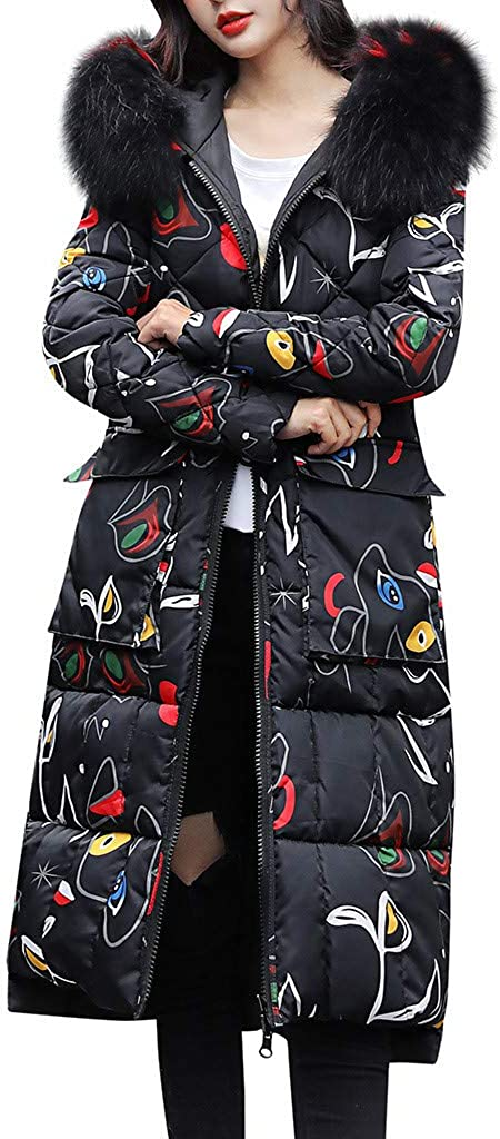 Reversible Jacket Women, NRUTUP Winter Parka with 2 Sided Patterns, Quilted Winter Jackets with Faux Fur Hood, Maxi Long