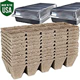 Peat Pots for Seedlings - 10 Seedling Trays with 2 Seed Starter Tray