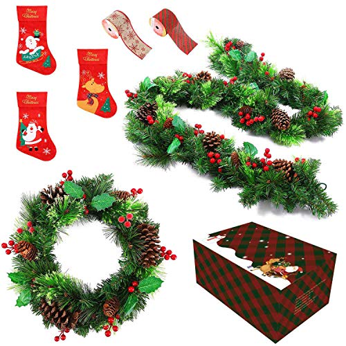 A ANLEOLIFE Christmas Fireplace Door Decor Set with 16' Xmas Wreath and 83' Pine Berries Garland Hanging Stockings Felt Ribons Whole Decoration Economical Pack (Xmas Fireplace n Door Decor)