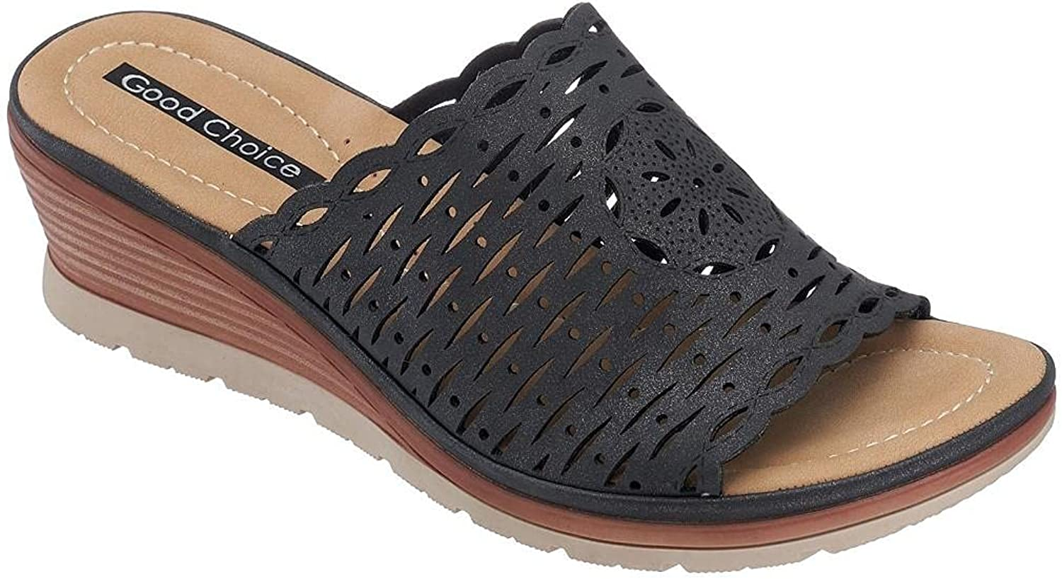 GC Shoes Womens Maddy Wedge Sandal Slides