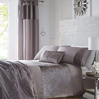 Luxury Crushed Velvet Panel Duvet Quilt Cover Bed Linen Bedding Set Mink - UK King / US Queen