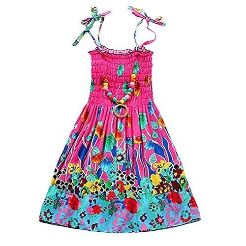 1853f0b2c936 ESHOO Kids Girls Summer Vacation Beach Printing Dress with Necklace