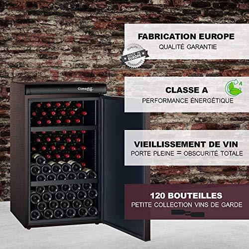 Cave de vieillissement 120 bouteilles CLV122M Climadiff - Idéale petite collection de vins de garde - Porte Pleine - Classe A