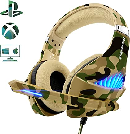 Beexcellent PS4 Gaming Headset【2019 Upgraded】 Xbox One PC PS3 Fashionable Deep Bass Headphone with Noise Immunity, Friction-Reduction Cable, High-Comfort Earmuff(Dazzle Camo)