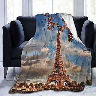 dsdsgog Flannel Soft Bed Blanket Throw Blankets Eiffel Tower,Eiffel Tower Boat Seine Cloudscape Vacation Tourist Destination,Cinnamon Blue Dark Orange,40