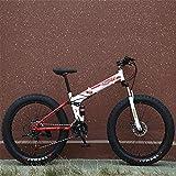Sooiy Nieve Bicicleta Plegable Doble absorción de Choque de Velocidad Variable del Freno de Disco de Bicicletas de montaña 4.0 Rueda Ancha Fat Tire para Bicicleta Plegable para Adultos,Rojo,24inch