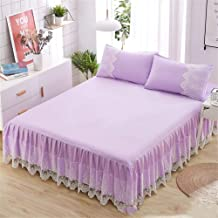 RUIDP Valance Fitted Cotton Solid Color Fashion Romantic Lace Summer Double Valance Sheet Valance Sheet Pink Washable Ruffled Bed Valances Fits Under The Mattress Down to The Floor