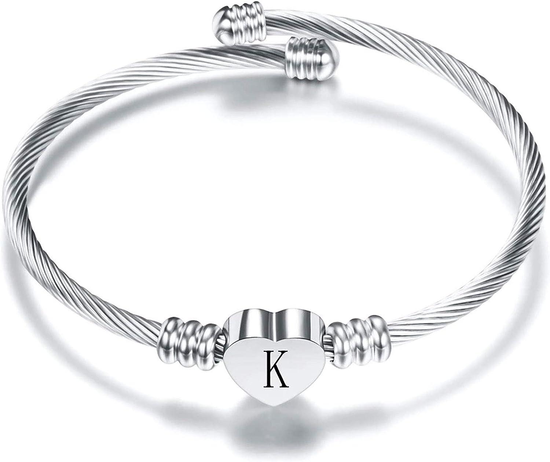 KunBead Women Girls Letter A-Z Initial Bracelets Love Heart Charm Alphabet Name Cuff Bangle Bracelet Stainless Steel