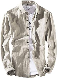 [メリュエル] シャツ M~2XL コットンシャツ 薄手 無地 長袖 メンズ