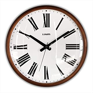 LANGPIN 15-Inch Large Wood Retro Vintage Style Decorative Clocks Battery Operated Quartz Analog Silent Movement Wall Clock for Home Kitchen Living Room Non Ticking (Roman Numerals)
