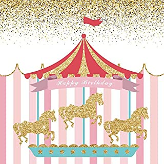 Happy Birthday Party Photography Backdrops - Yeele 4x4ft Circus Princess Carousel Stripes Photo Background for Party Banner Decor Girl Baby Newborn Portrait Shooting Studio Props Photocall