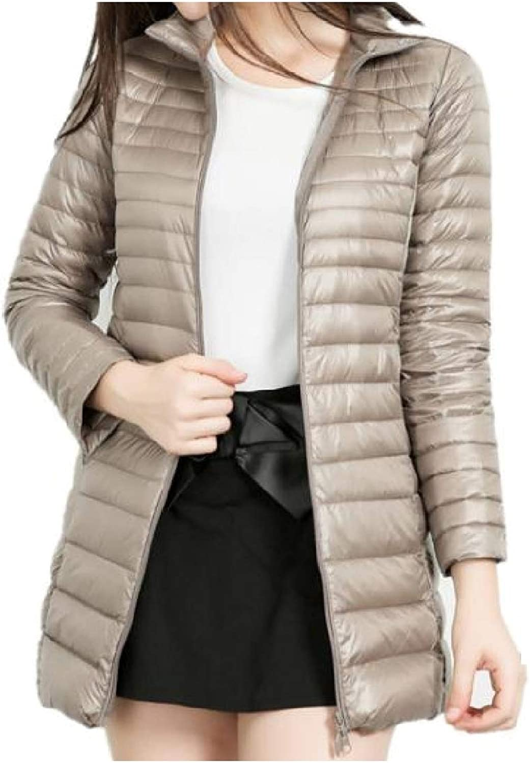 color&W Women's Pure MidLong Winter Ultra Light Weight Skinny Down Coat Outerwear