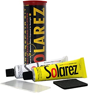 SOLAREZ UV Cure Surfboard Ding Repair Econo Travel Kit - Polyester and Polyester Microlite Filler Tubes + Sanding pad + Spreader Card