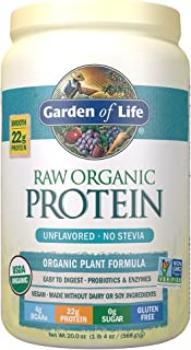 Garden of Life Raw Organic Protein Unflavored Powder, 20 Servings, Certified Vegan Gluten Free Organic & Non-GMO, Plant Ba...