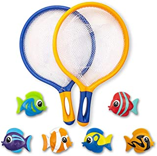 ArtCreativity Fishing Net Catch Game, Set of 2, Each Set with 1 Fishing Net and 6 Colorful Fish Toys, Pool Toys for Kids, ...