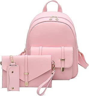 3pcs/Set PU Leather Women Backpack Girls Solid Shoulder Mini Backpack Lady Composite Bag