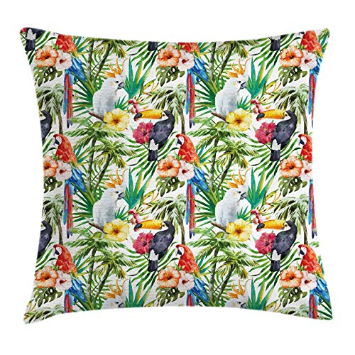 FULIYA Throw Pillow Cases Decorative Soft Square, Watercolored Tropical Animals Toucans and Yellow Crested Cockatoo in The Jungle,Throw Pillow Cover Cushion Case for Sofa 18x18 INCH