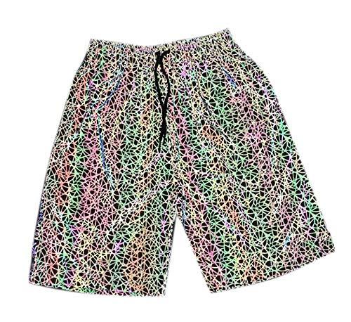 Hellomiko Pantalons réfléchissants pour Hommes Poche colorée à la Taille élastique Running Running Dance Cycling Fluorescent Pants