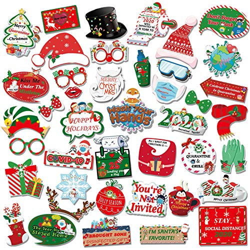 Christmas Photo Booth Props-42pcs DIY Funny Christmas Santa Hat Xmas Selfie Props Mustache Glasses Red Lips Toilet Paper Masks Funny Decorations for Chiristmas Party Decoration Supplies with Sticks