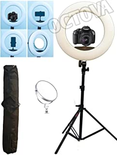 OCTOVA Ring Light 18 inch with Stand and Mirror; 96W (Extra Bright) 3200k - 5500K Dimmable LED Kit AC Powered; for Camera; Smartphone;YouTube Videos;Self Portrait Tiktok;Musically;Makeup Professional