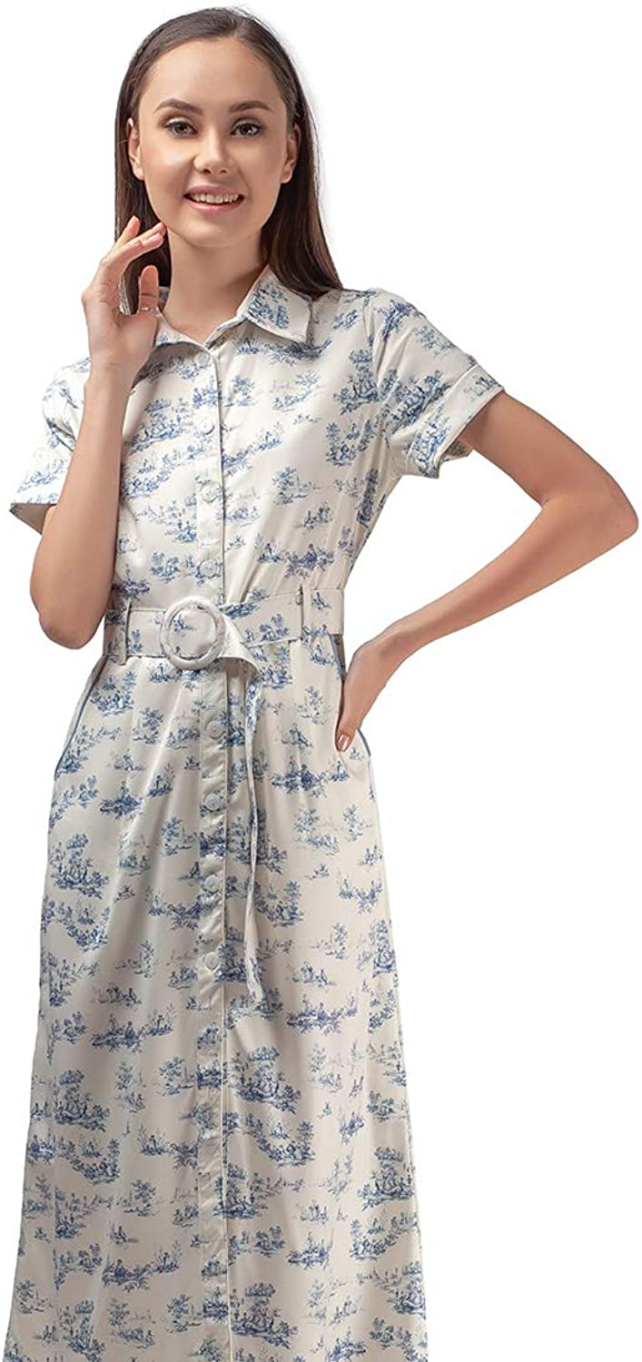Plains and Prints Womens  blueePeriod Porcelain Short Sleeves Dress