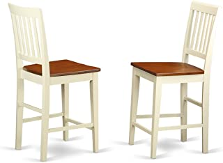 East West Furniture Counter Height Stool Set with Wood Seat, Buttermilk/Cherry Finish, Set of 2