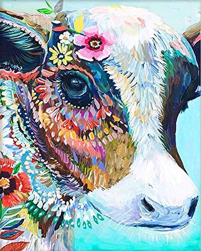 Bimkole DIY Paint by Numbers Kit Kuh Blume Tier Malen Nach Zahlen Erwachsene, Acrylfarbe Anfänger Zeichnen Malen Mit Pinseln Mauer Für Home Office Wandkunst Dekor 40 * 50 cm