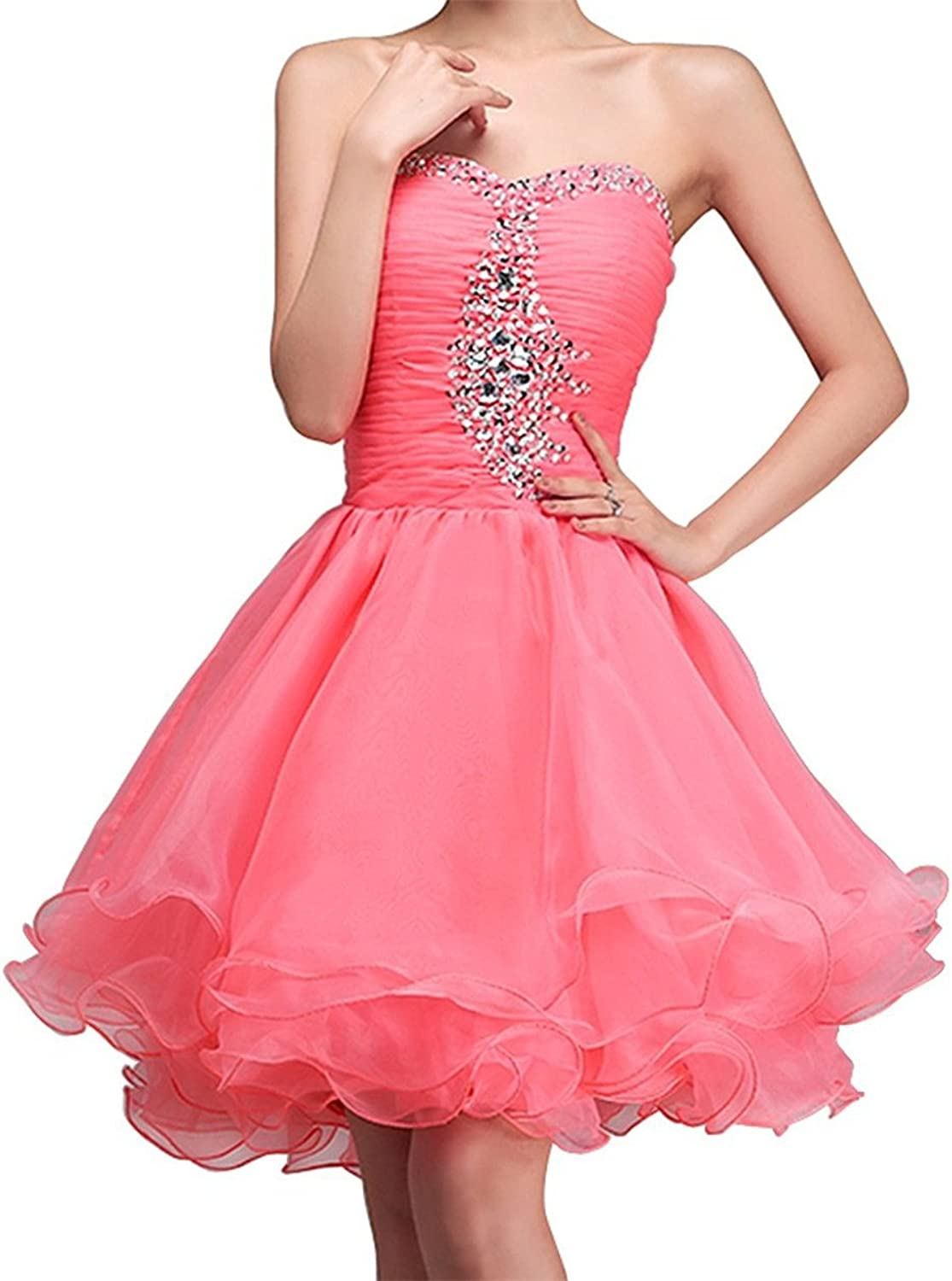 JudyBridal Women A Line Sweetheart Cryatals Short Cocktail Party Dresses