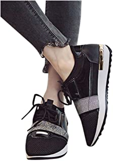 Women's Lace Up Sneakers,Fashion Casual Pointed Toe Shallow Walking Shoes Low Heel Shoes Stitching Low-Top Sneakers