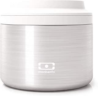 monbento - MB Element Silver gray / metal insulated container - leakproof and insulated lunch box keeps food hot/cold - BPA free - Food grade safe