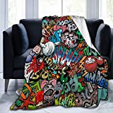 SARA NELL Graffiti Art Hip-Hop Style Blanket,Chic Funny Print Flannel Fleece Blanket for Baby Kids Teens Adults,Super Soft Cozy Warm Fuzzy Throws Blanket for Bed,Couch,Chair,Car,Camping,50 X 40 Inch