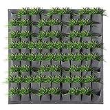 Jardineras verticales para colgar en la pared Bolsa de cultivo de plantas Interior al aire libre 72 bolsillos Jardín Jardinera vertical para colgar en la pared Bolsas de cultivo de plantas Balcón gris
