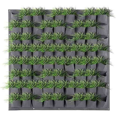 Mavis Laven 72 Taschen Garten Vertikale Wand Indoor Outdoor Hängende Pflanzer Pflanze Wachsende Taschen für Blumengemüse Grau
