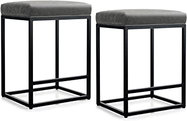 "MAISON ARTS Counter Height 24"" Bar Stools Set of 2 for Kitchen Counter Backless Industrial Stool Modern Upholstered Barst"
