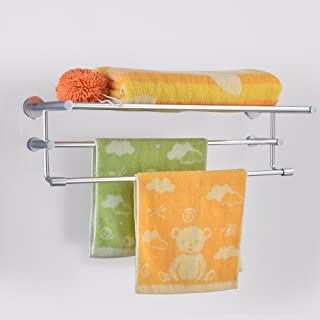 MBYW Modern Minimalist high Load-Bearing Towel Rack Bathroom Towel Rail Bathroom Shelf, Space Aluminum Double Shelf, Combined Aluminum Towel Rack Suitable for Bathroom, Bedroom