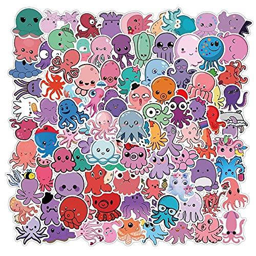 10/50/100 piezas de pegatinas divertidas de dibujos animados de pulpo niños juguete animales calcomanías impermeables pegatinas adecuadas para bricolaje portátil equipaje bicicleta monopatín