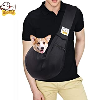 HOPELF Pet Dogs Cats Small Animals Sling Carrier with Pocket Hands Free Reversible Puppy Outdoor Travel Bag Purse (Black A...