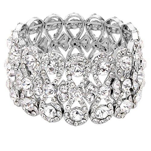 EVER FAITH Österreichische Kristall Elegant 8-Shaped Knot Hochzeit elastisch Stretch Armband Klar Silber-Ton