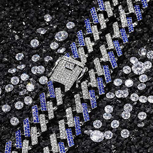 Männer Hip Hop Iced Out Bling Kette Halskette Mode 15 Mm Breite Kubanische Ketten Halsketten Choker Hiphop Männlichen Schmuck Geschenke,silverblue,20inch