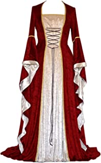 Womens Renaissance Medieval Costume Dress Lace up Irish Over Long Dresses Cosplay Retro Gown
