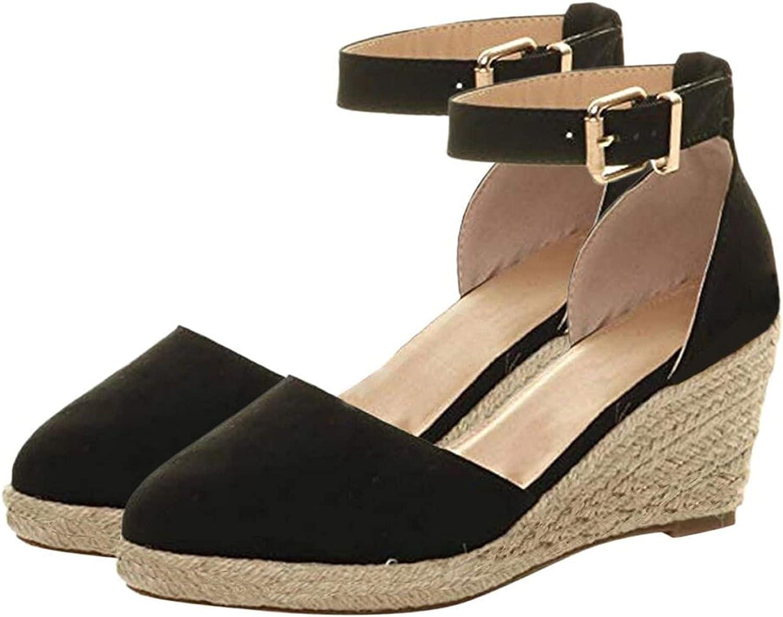 ZiSUGP Women' Buckle Ankle Strap Sandals Wedges Sandals Summer Weaving Breathable Shoes